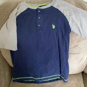 Boys shirt.  Brand Polo.  Size 14/16.  Navy/ Gray
